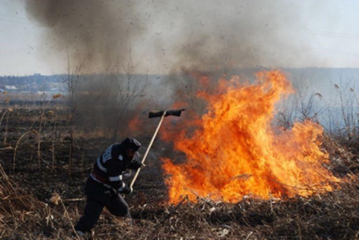 150 de hectare de vegetaţie uscată, mistuite de flăcări