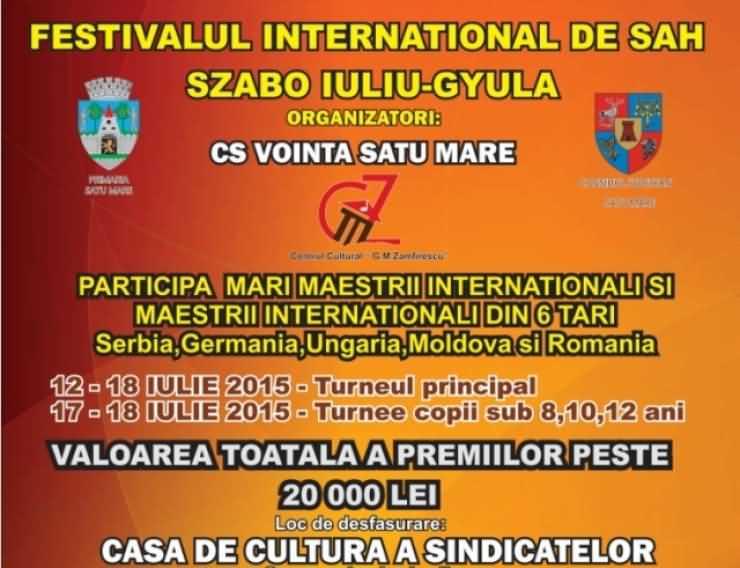 """Festivalul internațional de șah """"Szabo Iuliu-Gyula"""", la Satu Mare"""
