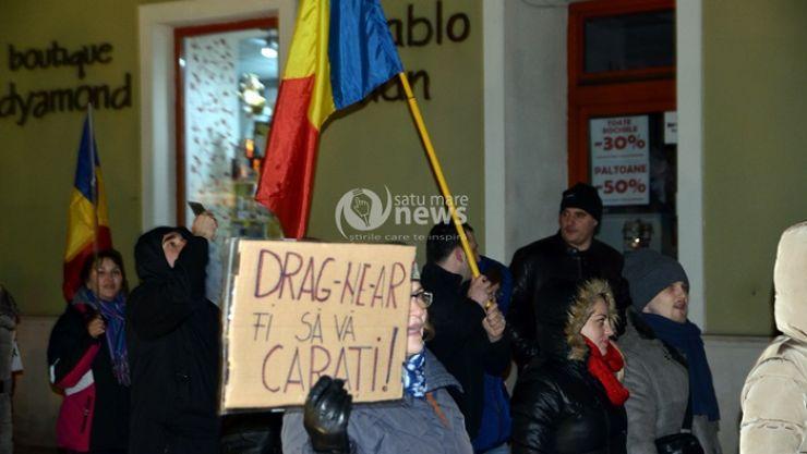 """Protest la Satu Mare: """"Drag-ne-ar fi să vă cărați!"""""""