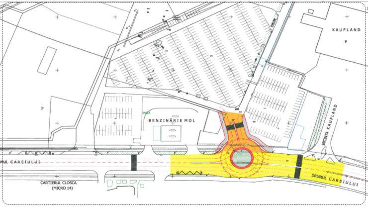 Comisia de Circulație a avizat lucrările de amenajare a sensului giratoriu de la Shopping City Satu Mare