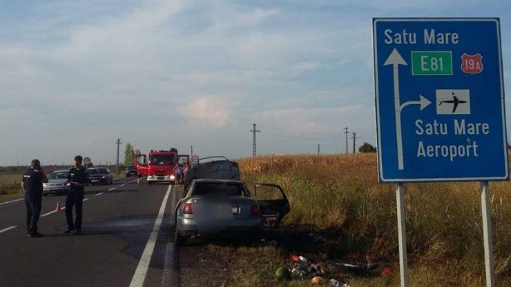 O mașină a luat foc în zona Aeroportului Satu Mare