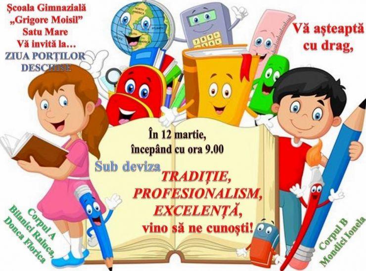 """Școala gimnazială """"Grigore Moisil"""" organizează """"Ziua Porților Deschise"""" pentru clasa pregătitoare"""