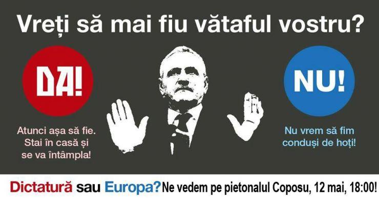 """Un nou protest la Satu Mare: """"Vrem Europa, nu dictatură!"""""""