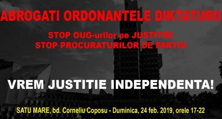 """Protest, duminică, la Satu Mare: """"Abrogați Ordonanțele Dictaturii!"""""""