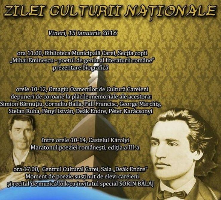 Programul manifestărilor dedicate Zilei Culturii Naționale la Carei