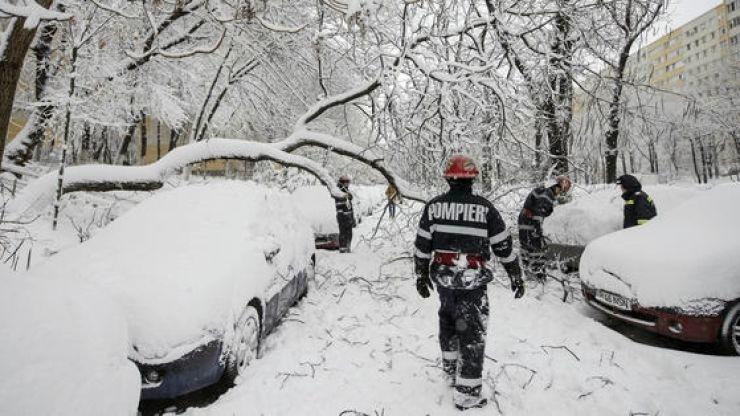 Copaci căzuţi peste maşini și fire de curent. Au intervenit pompierii