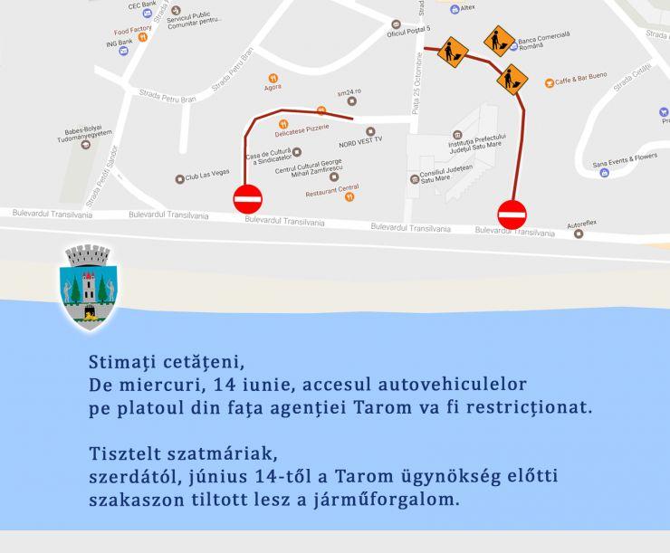 Primăria Satu Mare | Accesul autovehiculelor, interzis pe platoul din Centrul Nou