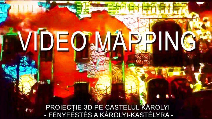 Proiecție 3D realizată de Kaizer Vilmos, pe clădirea Castelului Károlyi din Carei