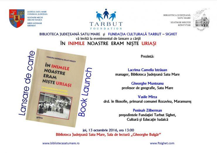 """Lansare de carte la Biblioteca Județeană Satu Mare: """"În inimile noastre eram nişte uriaşi"""""""