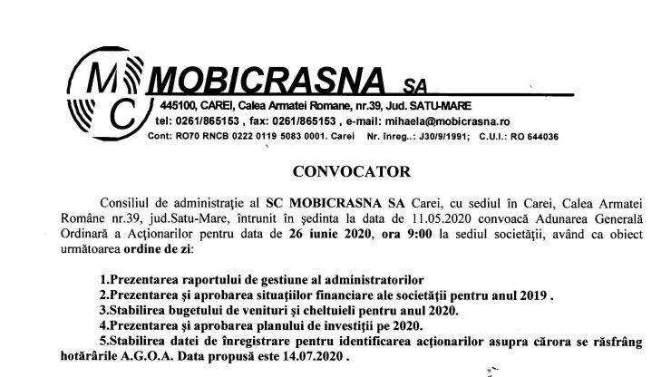 Convocator consiliu de administrație al SC MOBICRASNA SA Carei