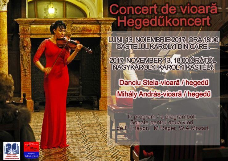 Concert la două viori, în Castelul din Carei