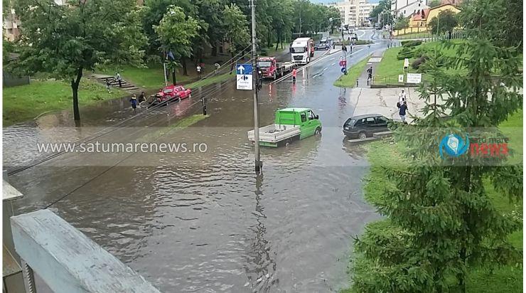 Mai multe artere din municipiul Satu Mare, inundate