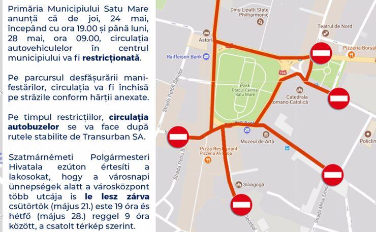 Circulația în centrul municipiului, închisă de Zilele Orașului
