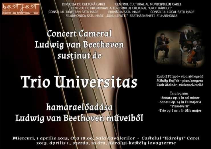 Concert cameral Beethoven al Trio Universitas, la Carei