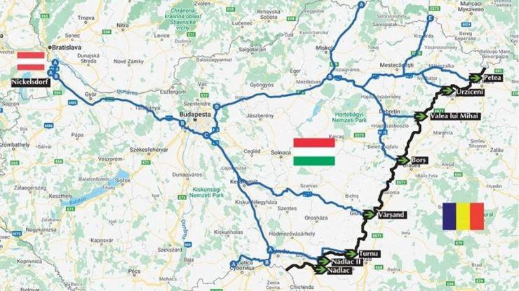 Hartă cu itinerariul de deplasare spre punctele de frontieră deschise la graniţa româno-ungară