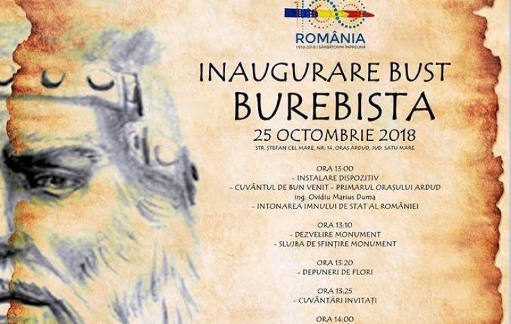 Bustul lui Burebista, inaugurat la Ardud, de Ziua Armatei Române